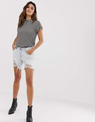 One Teaspoon stevies longline short with distressing