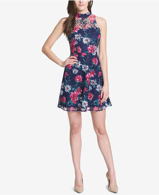Kensie Floral Mock-Neck Dress