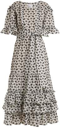 Lisa Marie Fernandez Ruffle-trimmed floral-embroidered cotton dress
