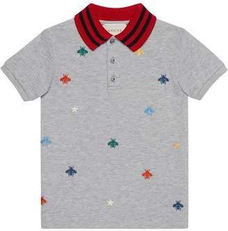 Gucci Kids Children's polo with bees and stars embroidery