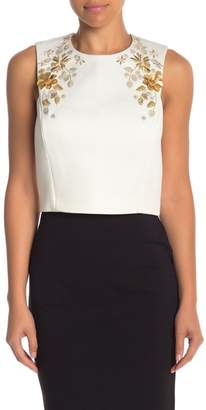 Ted Baker Embroidered & Embellished Sleeveless Cropped Blouse