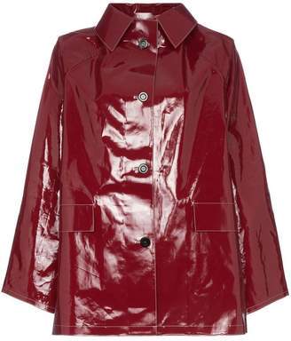 Kassl button down patent raincoat