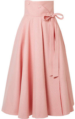 Sara Battaglia Gingham Cotton-blend Wrap Midi Skirt - Pastel pink
