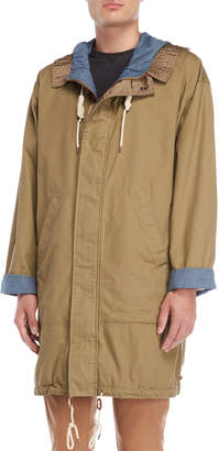 Scotch & Soda Khaki Utility Hooded Long Parka