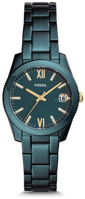 Fossil Scarlette Three-Hand Date Teal Green Stainless Steel Watch