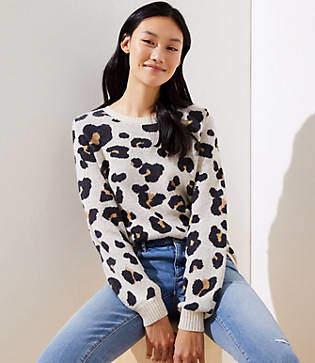 LOFT Leopard Jacquard Sweater