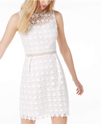 Maison Jules Star-Pattern Lace Fit & Flare Dress