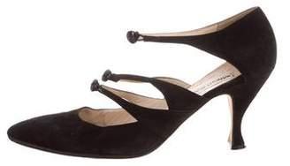 Manolo Blahnik Suede Ankle Strap Pumps