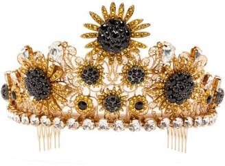 Dolce & Gabbana Sunflower Crystal Tiara - Womens - Yellow
