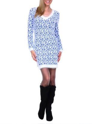 White Mark Women's Leopard Print Angora Sweater Dresss