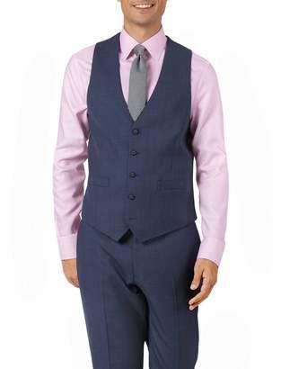 Charles Tyrwhitt Airforce Blue Adjustable Fit Sharkskin Travel Suit Wool Vest Size w42