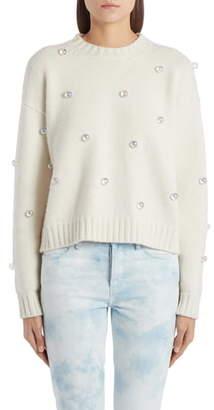 Alanui Below Zero Drop Shoulder Studded Cashmere & Wool Sweater