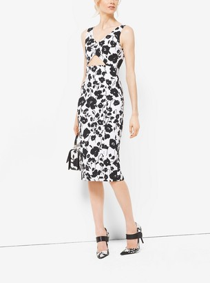 Michael Kors Floral Silk and Cotton-Matelasse Cutout Sheath Dress