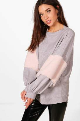 boohoo Oversized Faux Fur Sweat