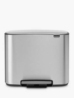 Brabantia Bo Fingerprint Proof Stainless Steel Pedal Bin, 11 + 23L