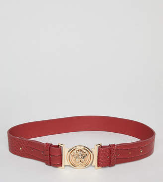 My Accessories red mock croc clip buckle belt