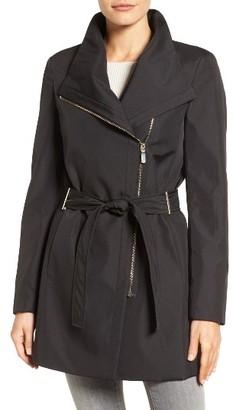 Women's Calvin Klein Asymmetrical Belted Rain Coat $228 thestylecure.com