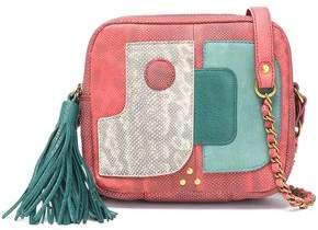 Jerome Dreyfuss Tasseled Paneled Karung And Leather Shoulder Bag
