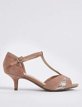 Marks and Spencer Wide Fit Suede Kitten Heel Buckle Sandals