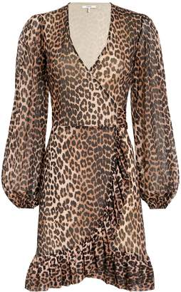 Ganni Printed Mesh Leopard Wrap Dress