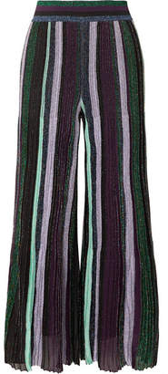 Missoni Striped Metallic Stretch-knit Wide-leg Pants - Purple