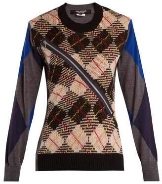 Junya Watanabe Argyle Checked Wool Knit Sweater - Womens - Grey Multi