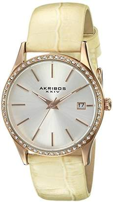 Akribos XXIV Women's AK883WTR Round Silver Dial Three Hand Quartz Rose Gold Tone Strap Watch