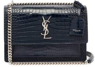 Saint Laurent Sunset Crocodile Effect Leather Cross Body Bag - Womens - Navy