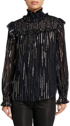 Elie Tahari Zariah Metallic Striped Turtleneck Long-Sleeve Blouse