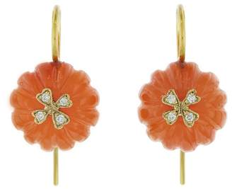 Cathy Waterman Carnelian Flower Bead Wildflower Overlay Earrings