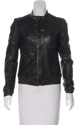 G Star Zip-Up Leather Jacket