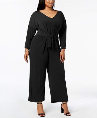 NY Collection Plus Size Tie-Waist Jumpsuit