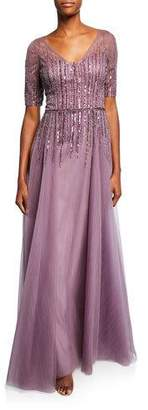 Rickie Freeman For Teri Jon Beaded V-Neck Short-Sleeve Tulle Gown