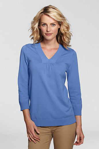 Lands' End Women's Petite 3/4-sleeve Soft Rayon Blend Tunic Top