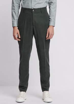 Emporio Armani Chino Trousers In Smooth Finish Tencel