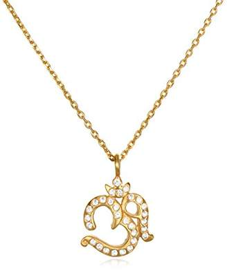 Satya Jewelry Women's White Topaz Om Pendant Necklace 18-Inch