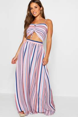 boohoo Petite Bella Double Knot Denim Stripe Maxi Dress