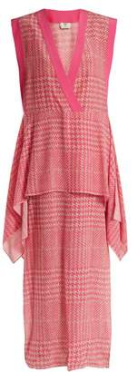 Fendi Prince Of Wales Checked Print Silk Crepe Dress - Womens - Pink Multi