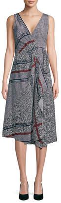 Derek Lam 10 Crosby Printed Pleated Wrap Silk Dress