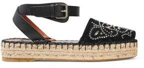 Valentino Leather-Trimmed Studded Suede Espadrille Sandals