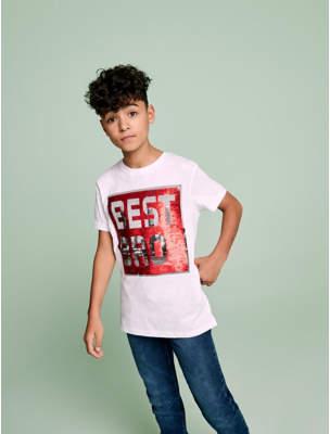 George White Sequin Swipe T Shirt