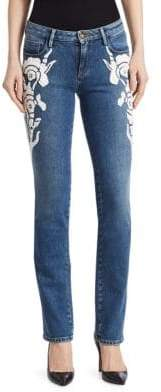 Roberto Cavalli Women's Skinny Embroidered Jeans - Blue/White - Size 38 (2)