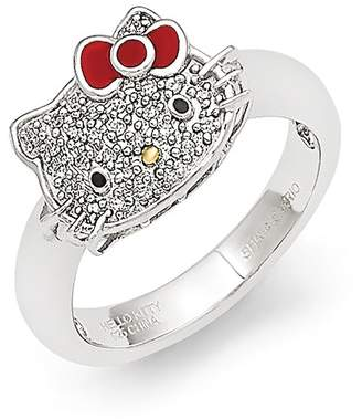 Hello Kitty Sterling Silver Diamond Red Bow Ring - 0.10 ctw