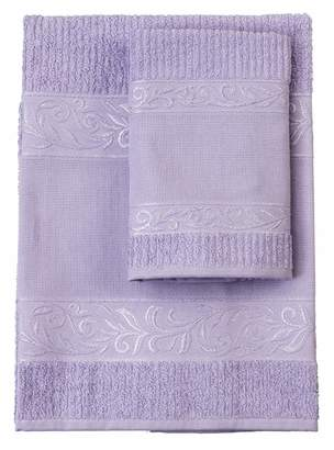 Filet (Fim2a) Filet - Towel Set with 100% Cotton Terry Towelling Plain with Embroidered Aida Fabric Insert - Lilac