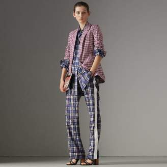 Burberry Check Cotton Tailored Jacket , Size: 10