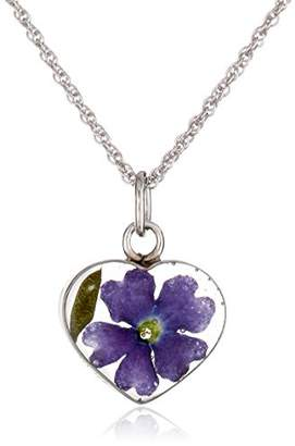 Sterling Silver Small Heart Pressed Flower Pendant Necklace