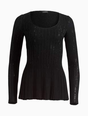 St. John Shimmer Engineered Links Knit Fit & Flare Sweater