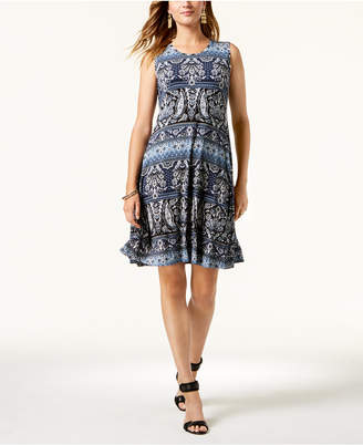 Style&Co. Style & Co Printed Sleeveless Swing Dress, Created for Macy's