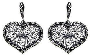Suspicion Sterling Marcasite Heart Dangle Earri