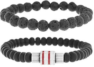 Ben Sherman Men's Stone Double Strand Stretch Bracelet Set with Stainless Steel White and Red Rondelle Beads